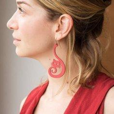 Laser Cut Cute Cat Earrings Cat Jewelry Free Vector