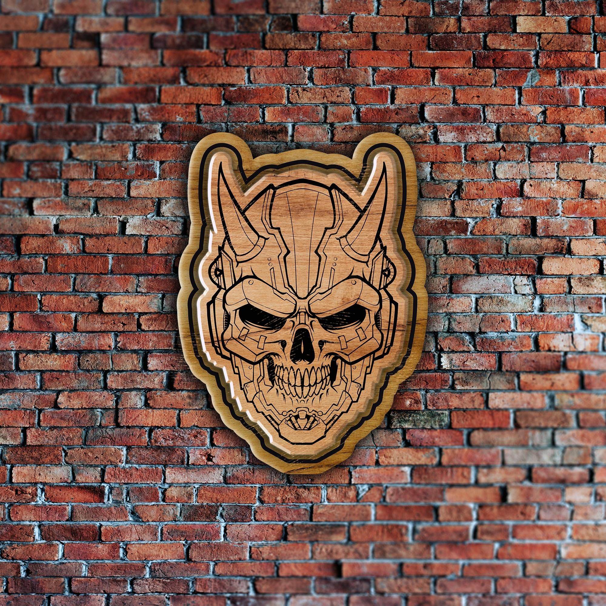 Laser Cut Engraved Skull Badge Coaster Wall Decor Free Vector
