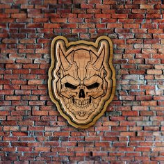 Laser Cut Engraved Skull Badge Coaster Wall Decor Free Vector
