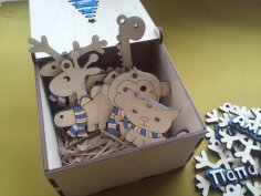 Laser Cut Gift Box With Ribbon Christmas Tree Engraved Snowflake Toys Monkey Dinosaurs Giraffe Cat Free Vector