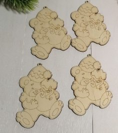 Laser Cut Engraved Wooden Christmas Magnets Free Vector