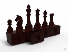 Laser Cut Organizer Chess 4mm Free Vector