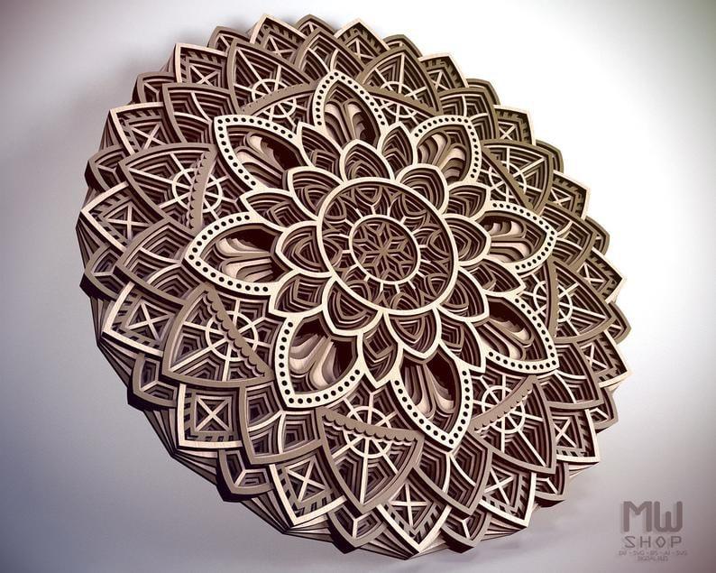 Laser Cut Decorative Circular Layered Mandala Free Vector