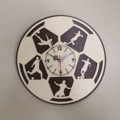 Laser Cut Football Wall Clock Sport Wall Clock Gift For Soccer Lover Footballer Free Vector
