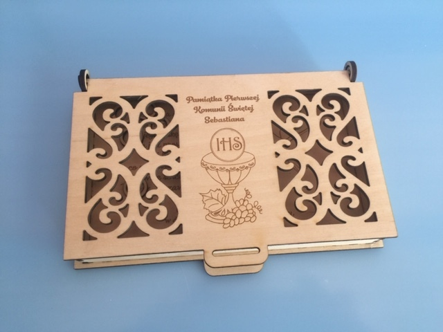 Laser Cut Engraved Wood First Communion Jewelry Box PDF File