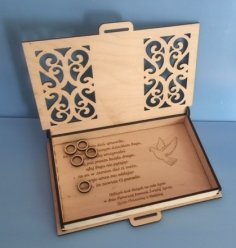 Laser Cut Engraved Wood First Communion Jewelry Box PDF File