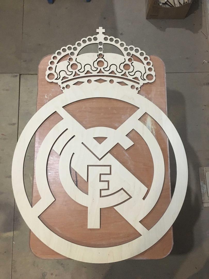 Laser Cut Real Madrid Logo Wooden Sports Logo Free Vector