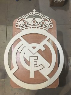 Laser Cut Real Madrid Logo Wooden Sports Logo Free Vector