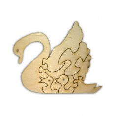 Laser Cut Blank Wooden Puzzle Swan Free Vector