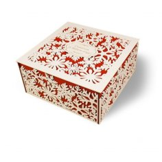 Laser Cut Snowflake Box Square Snowflake Christmas Gift Box Free Vector