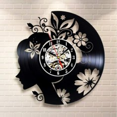 Laser Cut Flowers Girl Vinyl Record Wall Clock Free Vector