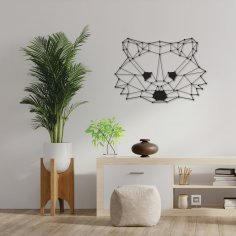 Laser Cut Polygon Raccoon Wall Art DXF File