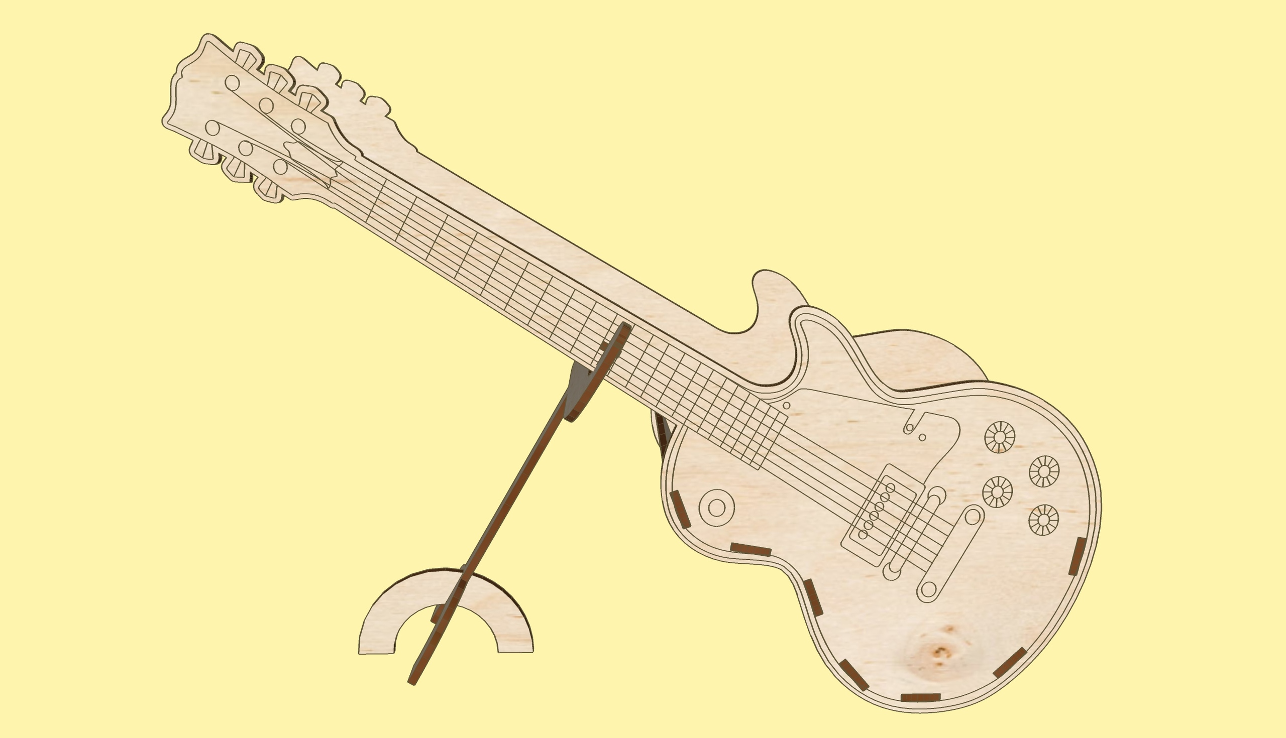 Laser Cut Guitar On Stand Decoration Flower Basket 3mm Plywood Free Vector