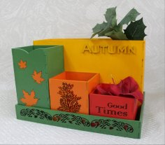 Laser Cut Autumn Desk Organizer Office Supplies Storage Free Vector