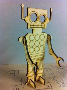 Laser Cut Wooden Robot Free Vector