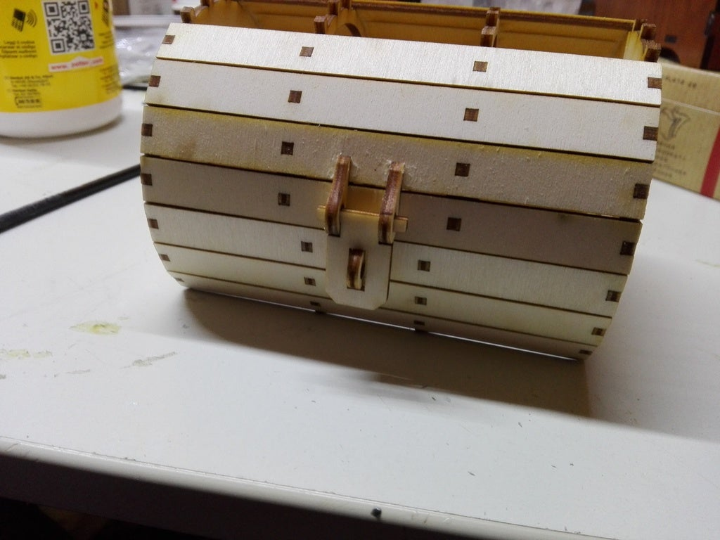 Laser Cut Barrel Box 3mm Plywood DXF File