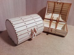 Laser Cut Barrel Box 3mm Plywood DXF File