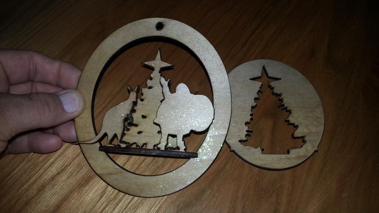 Laser Cut Xmas Tree Santa Kangaroo Free Vector