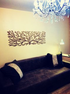 Laser Cut Wooden Tree Wall Art Free Vector