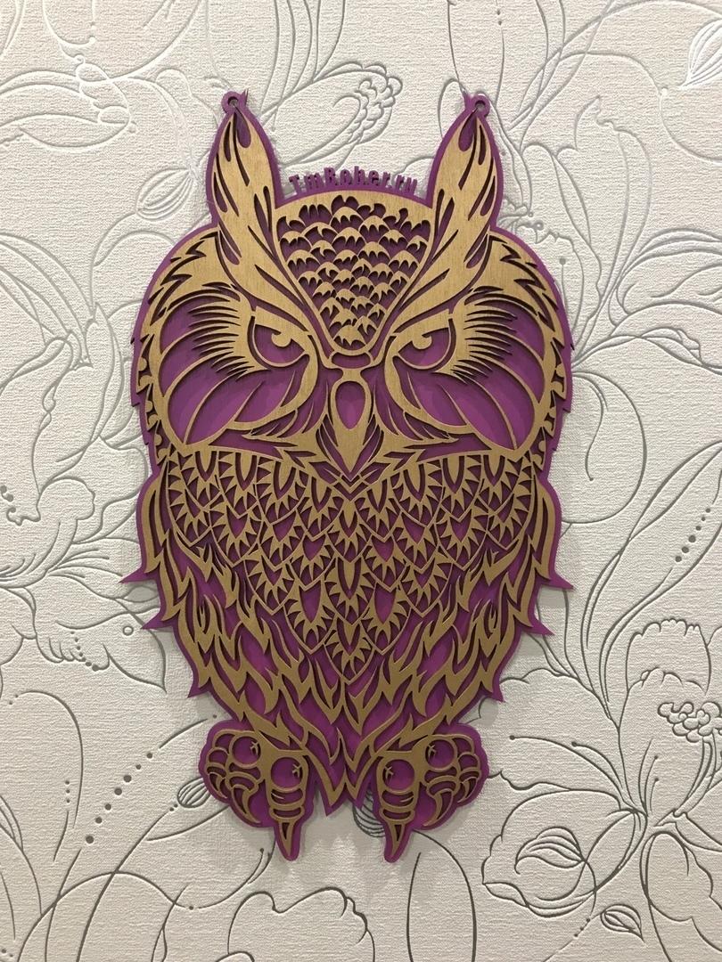 Laser Cut Decorative Plywood Owl Free Vector