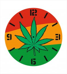 Laser Cut Wall Clock with Pot Leaf Free Vector