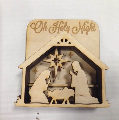 Laser Cut Wooden Nativity Scene DXF File