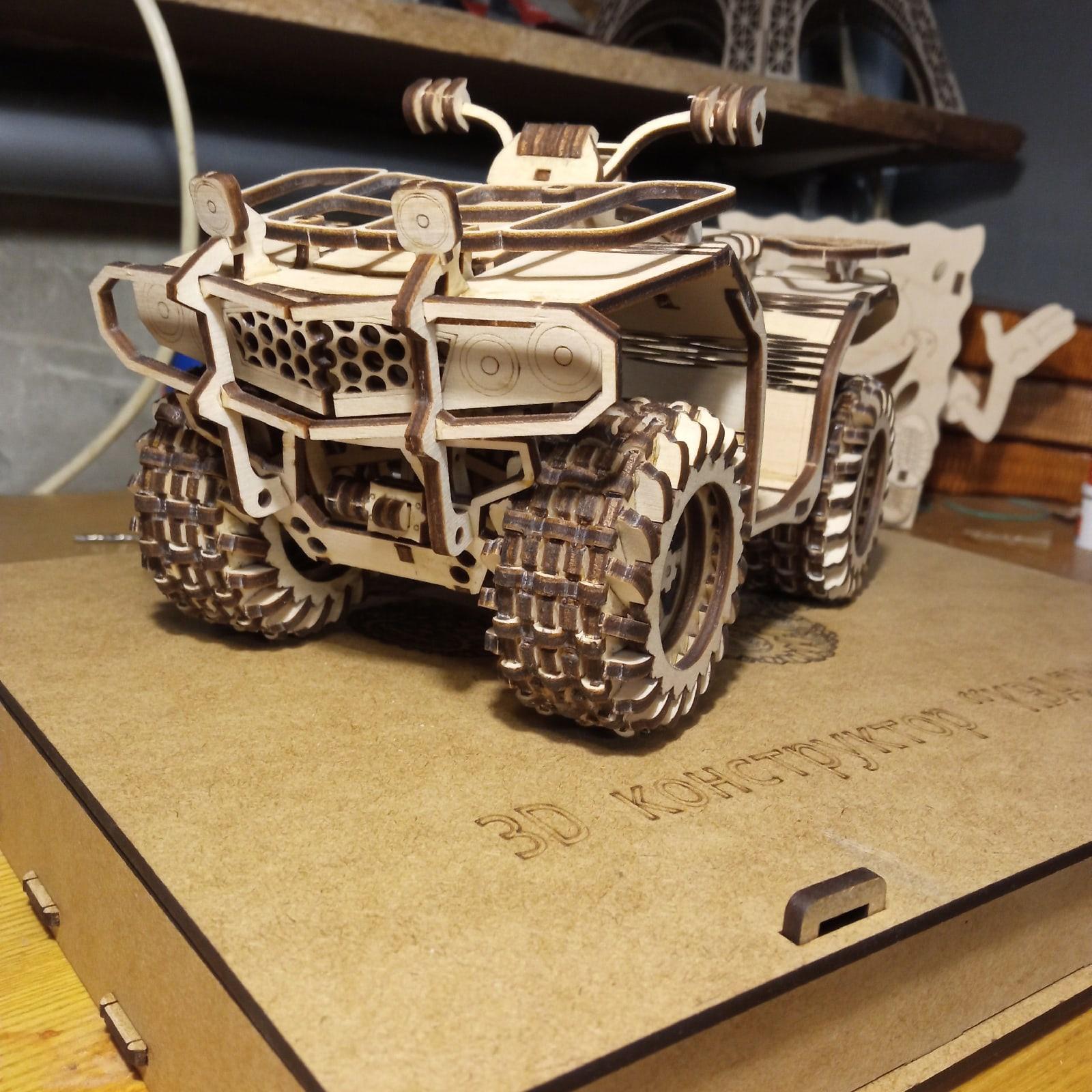 Laser Cut ATV Quad Bike 3D Wooden Puzzle Free Vector