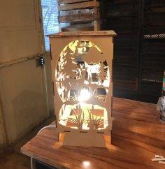 Laser Cut Bambi Forest Night Light Lamp Free Vector