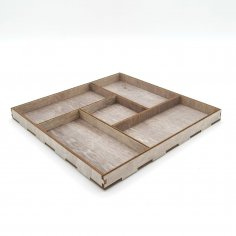 Laser Cut Wooden Square Serving Tray With Five Unique Designed Compartments Free Vector
