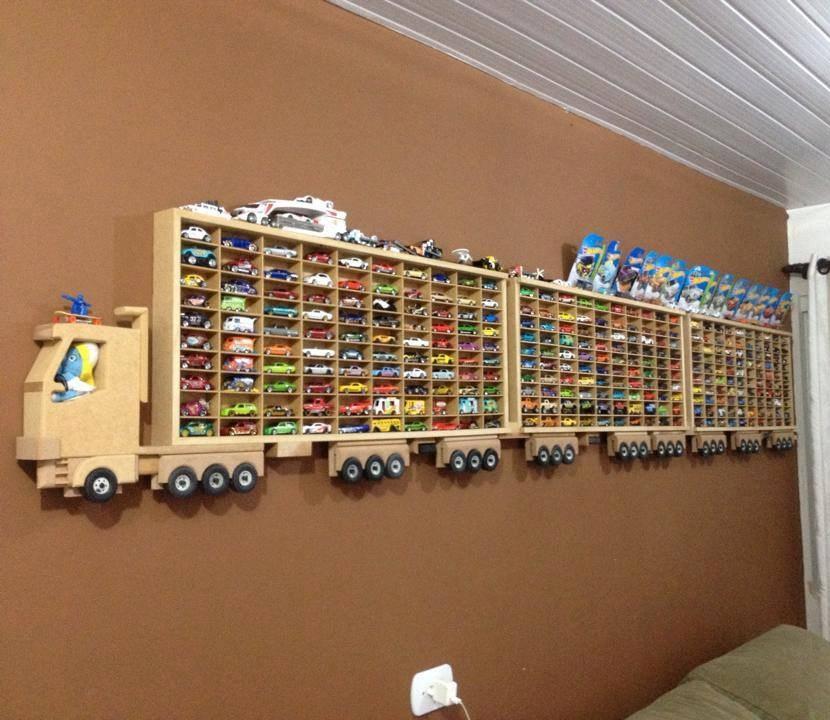 Laser Cut Toy Car Storage Truck Wall Shelf Free Vector