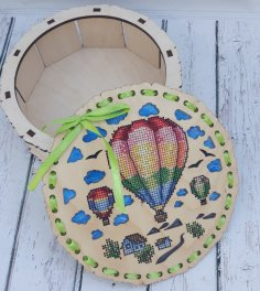 Laser Cut Wooden Decorative Embroidered Box Free Vector