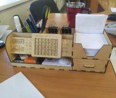 Laser Cut Multi-function Desk Stationery Organizer Free Vector