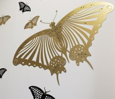Laser Cut Butterfly Wall Sticker Free Vector