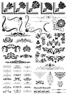 Seamless Decorative Floral Elements Free Vector