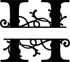 Split Monogram Letter H DXF File