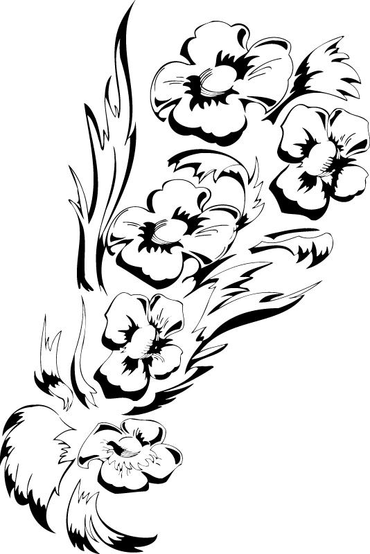 Black White Flower Floral Design Free Vector