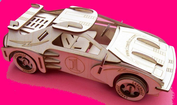 Racing Car 3D Puzzle Pattern DXF File