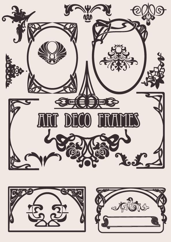 Art Deco Frames Vector Set Free Vector