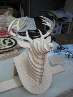 Deer Head 3D puzzle dxf File