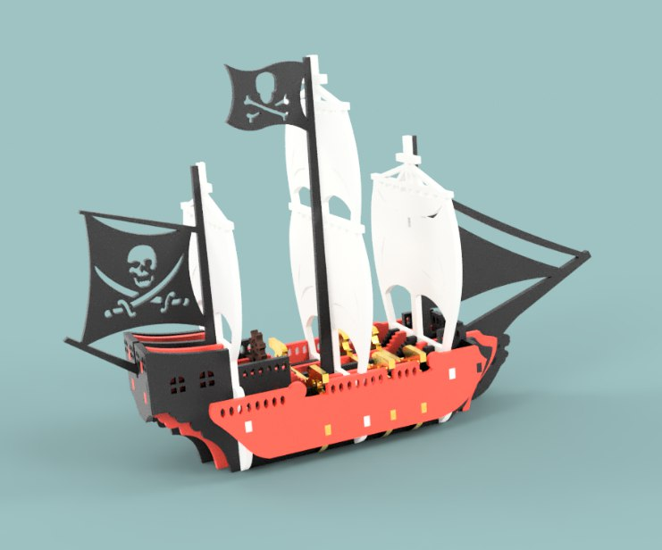 Pirate Ship Vector file for laser cutting CNC Free Vector