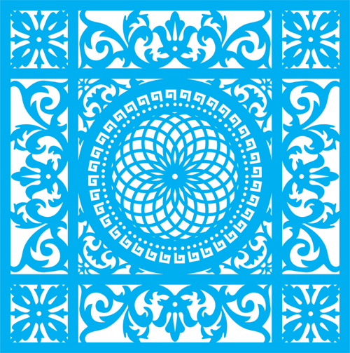 Seamless blue damask pattern Free Vector