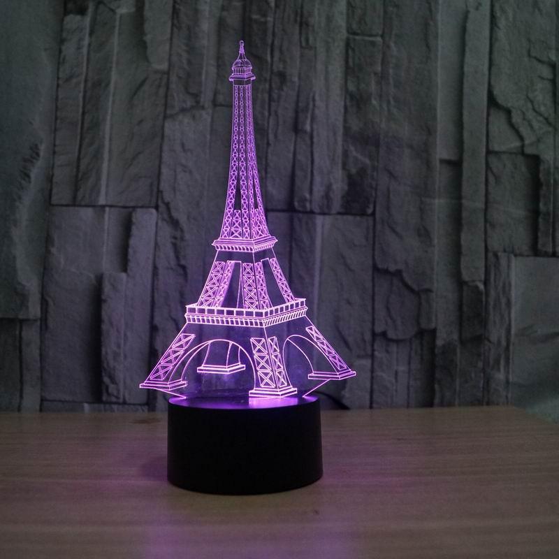 Eiffel Tower Decor 3D LED Night Light Free Vector