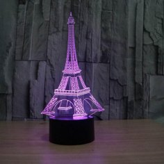 Eiffel Tower Decor 3D LED Night Light CDR File