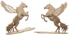 Magical Pegasus (Flying Horse) CNC Laser Pattern L 12 mm dxf File