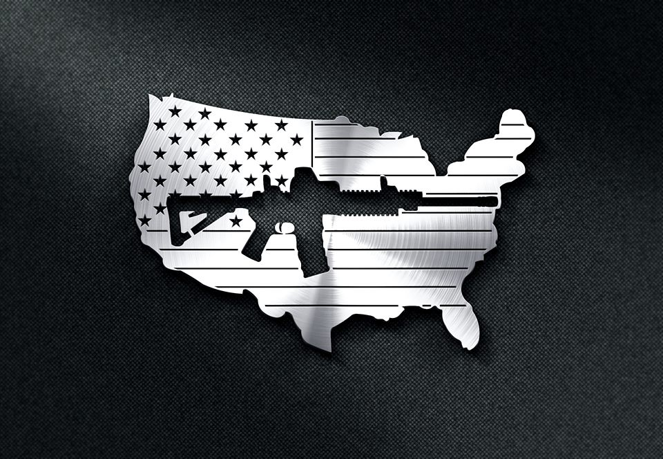 US Flag with a Gun Cut out DXF File