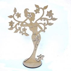 Woman Jewelry Stand Laser Cut Free Vector