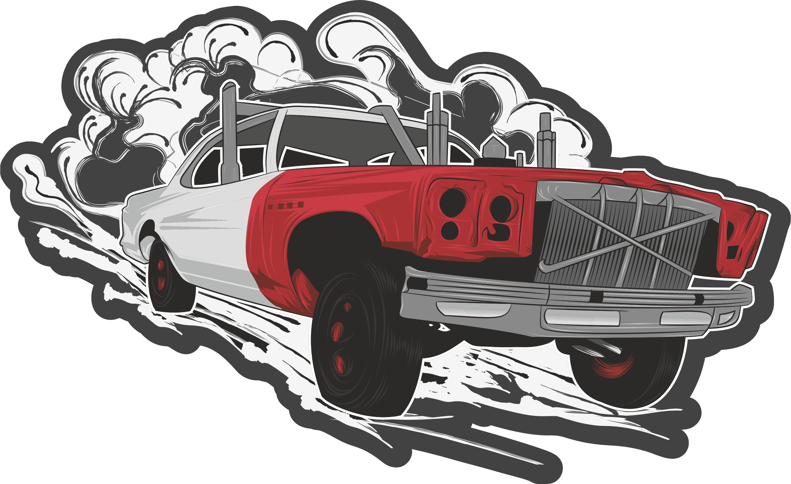 Hotrod Car Sticker Free Vector