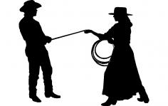 Cowgirl Cowboy dxf File