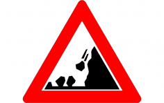 Road Sign Falling rocks dxf File