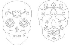 2 Sugar Skulls dxf File